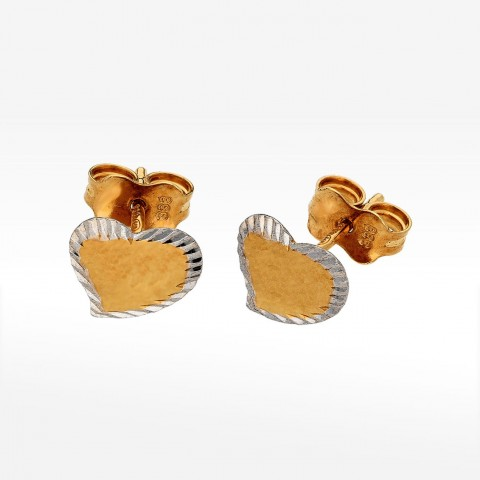 Dwukolorowe kolczyki ze złota serduszko