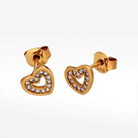 Kolczyki ze złota w kształcie serca z cyrkoniami