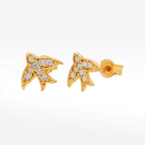 Złote kolczyki z jaskółki cyrkoniami