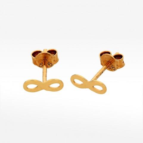 złote kolczyki ze znakiem nieskończoności