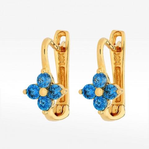 Złote kolczyki niebieskie kwiatuszki