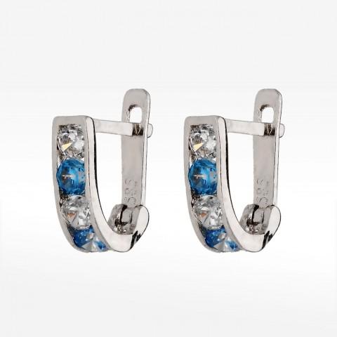 Kolczyki z białego złota z niebiesko-białymi cyrkoniami