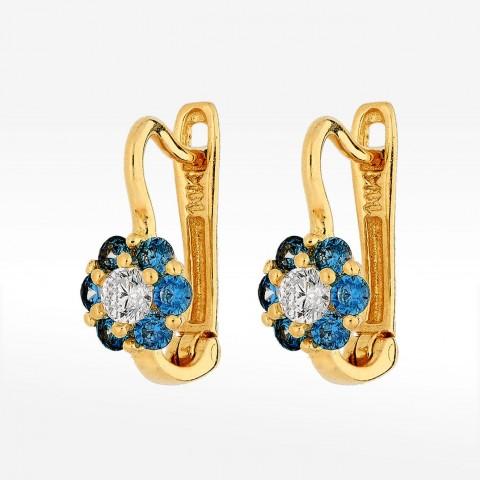 Złote kolczyki niebieskie kwiatki