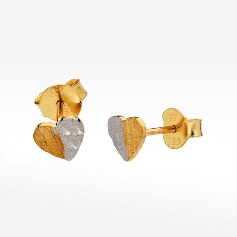 Dwukolorowe kolczyki ze złota serca