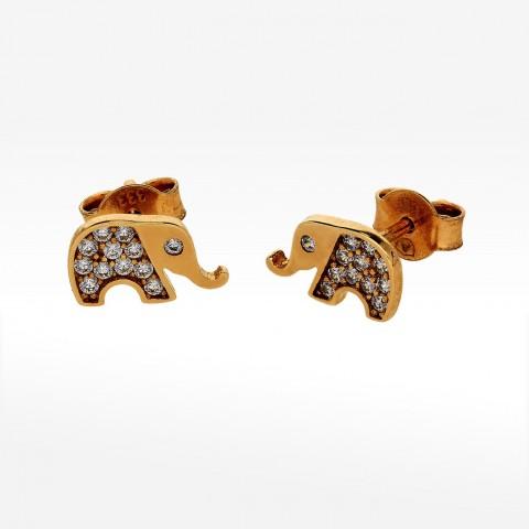 Złote kolczyki słoniki z cyrkoniami
