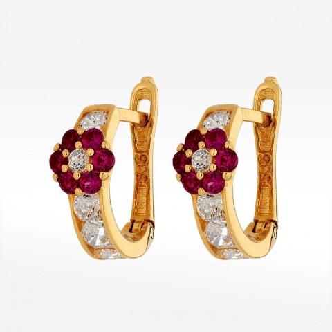 Złote kolczyki kwiatuszki z cyrkoniami