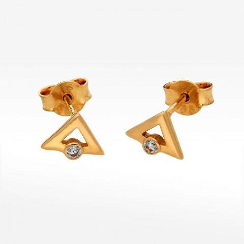 złote kolczyki w kształcie trójkąta z cyrkonią