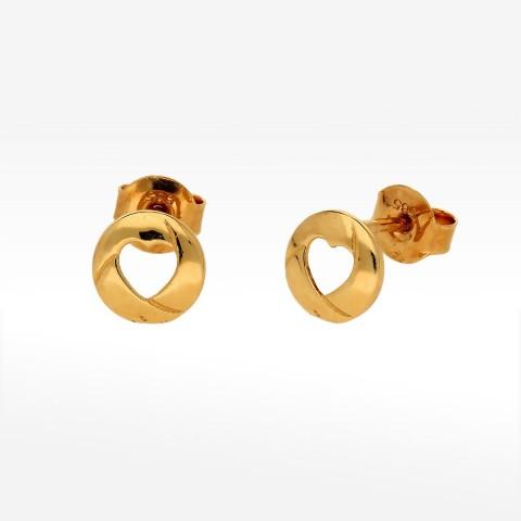 Złote kolczyki w kształcie koła z serduszkiem