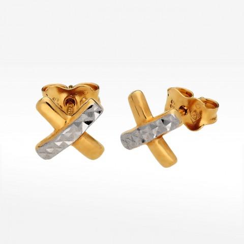 Złote kolczyki dwukolorowe