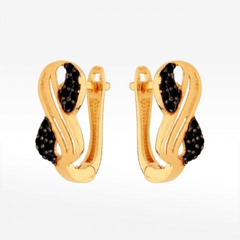 Złote kolczyki z czarnymi cyrkoniami na angielskie zapięcie