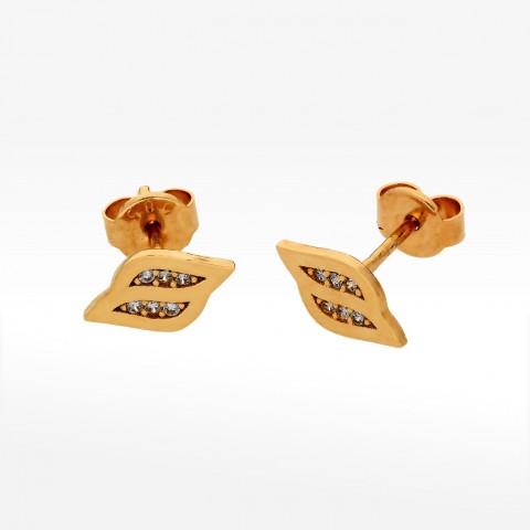 Złote drobne kolczyki z cyrkoniami sztyfty