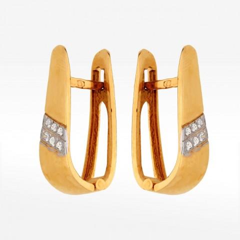 Kolczyki ze złota z cyrkoniami na angielskim zapięciu