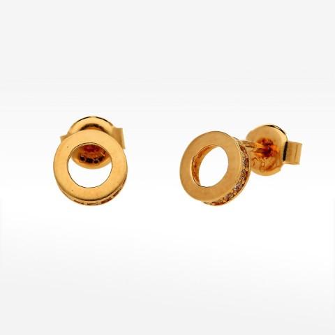 Kolczyki ze złota pierścienie z cyrkoniami