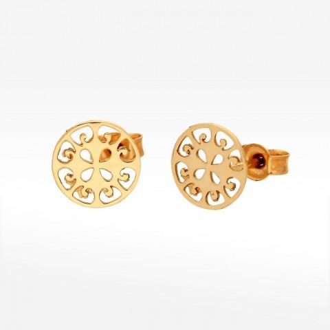 Ażurkowe kolczyki ze złota sztyfty