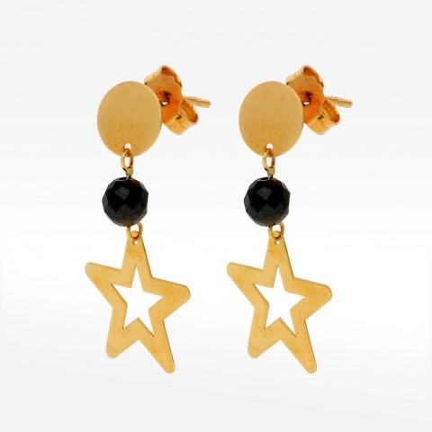 Kolczyki ze złota gwiazdki z hematytem