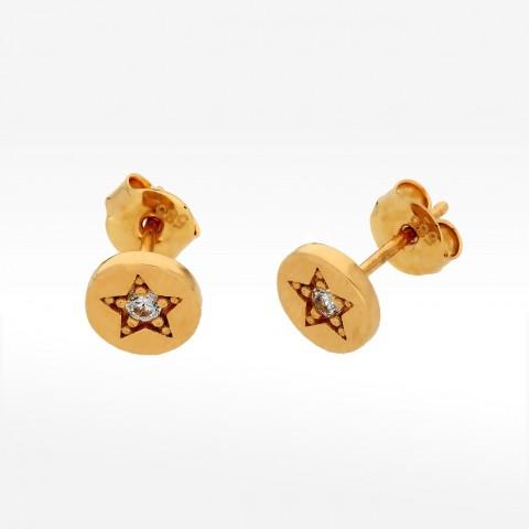 Kolczyki ze złota gwiazdka z cyrkonią