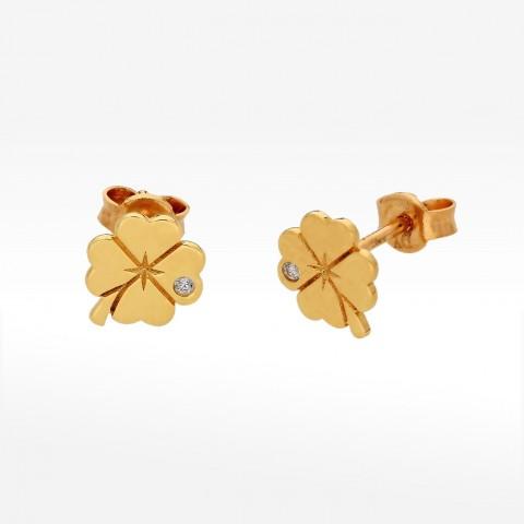 Kolczyki ze złota koniczynka z cyrkonią