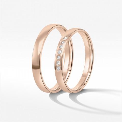 Obrączki ślubne z różowego złota 3mm