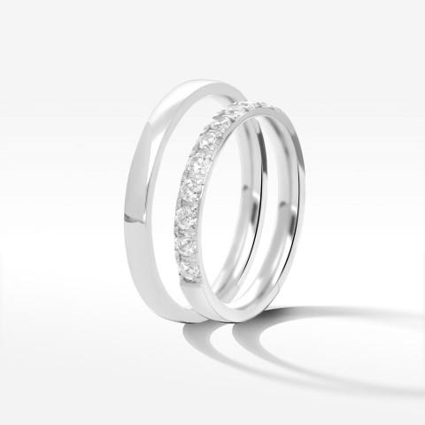 Obrączki ślubne z białego złota 2.5mm półokrągłe