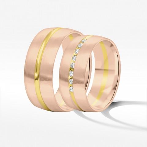 Obrączki ślubne z dwukolorowego złota 8mm