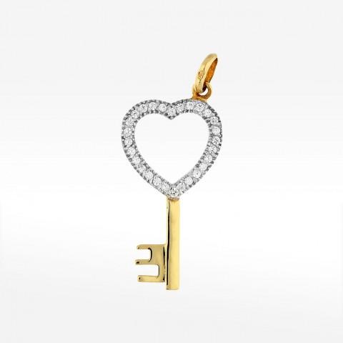 Złota zawieszka klucz-serduszko