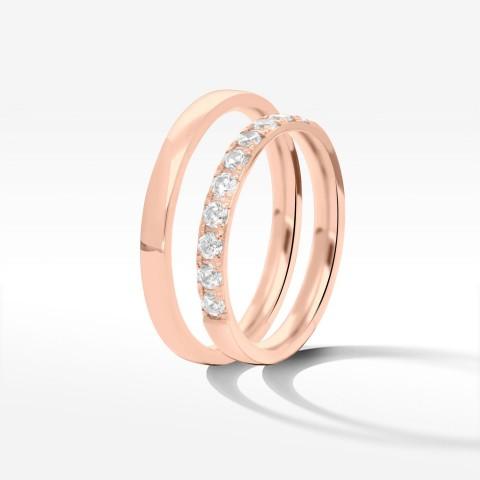 Obrączki ślubne z różowego złota 2.5mm półokrągłe