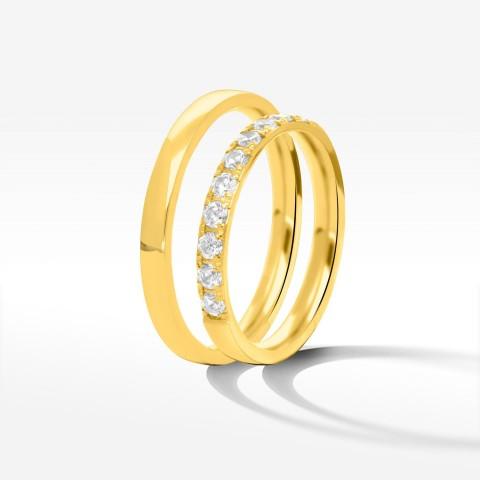 Obrączki ślubne z żółtego złota 2.5mm półokrągłe