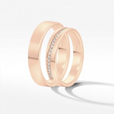Obrączki ślubne z różowego złota 4mm płaskie