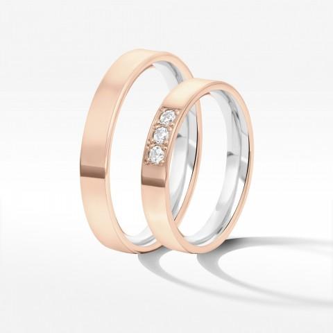 Obrączki ślubne z dwukolorowego złota 3.7mm