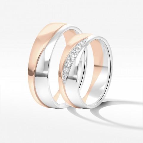 Obrączki ślubne z dwukolorowego złota 6mm