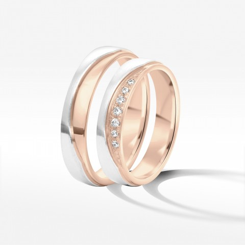 Obrączki ślubne z dwukolorowego złota 4.5mm