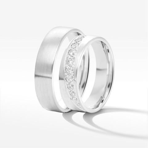 Obrączki ślubne z białego złota 5.5mm półokrągłe