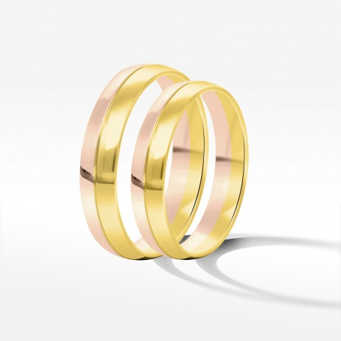 Obrączki ślubne z dwukolorowego złota 4mm