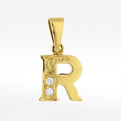 Złota zawieszka literka R
