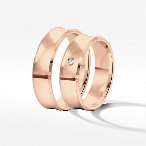 Obrączki ślubne z różówego złota 6mm