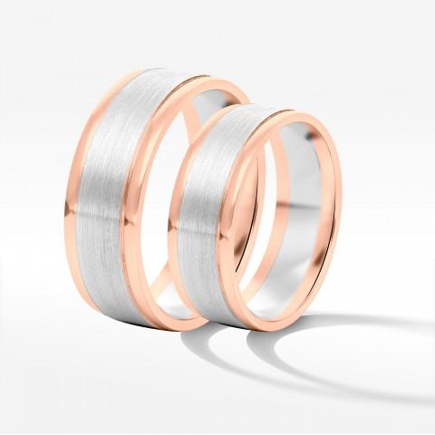 Obrączki ślubne z dwukolorowego złota 6|7.5mm płaskie