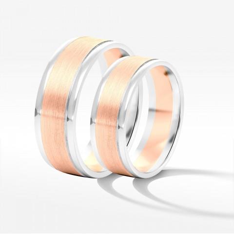 Obrączki ślubne z dwukolorowego złota 6 7.5mm płaskie