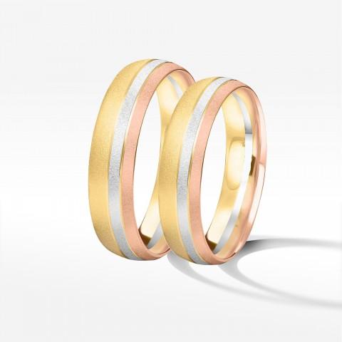Obrączki ślubne z trójkolorowego złota 5mm półokrągłe
