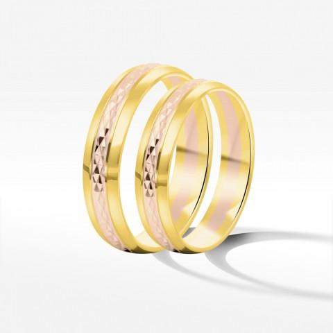 Obrączki ślubne z dwukolorowe złota 4.5mm półokrągłe