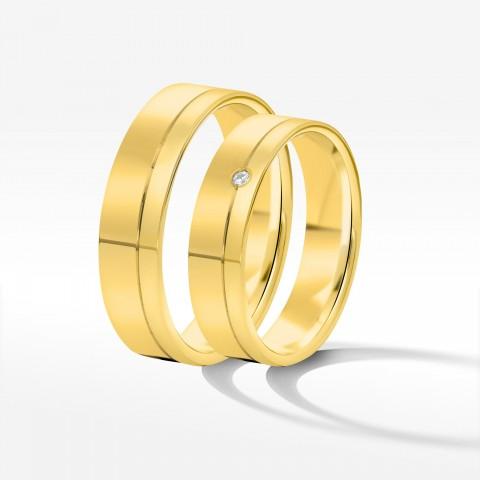 Obrączki ślubne z żółtego złota 3.5mm fazowane