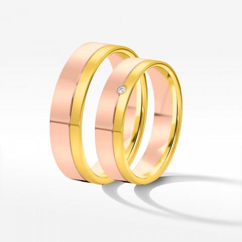 Obrączki ślubne z dwukolorowego złota 3.5mm fazowane