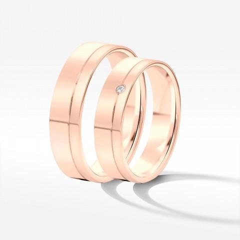 Obrączki ślubne z różowego złota 3.5mm fazowane