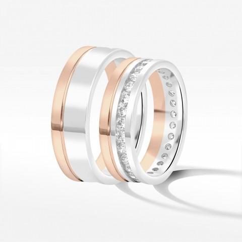 Obrączki ślubne z biało-różowego złota 6mm płaskie