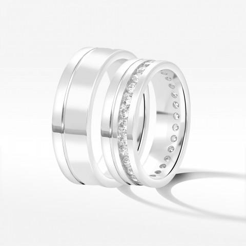 Obrączki ślubne z białego złota 6mm płaskie