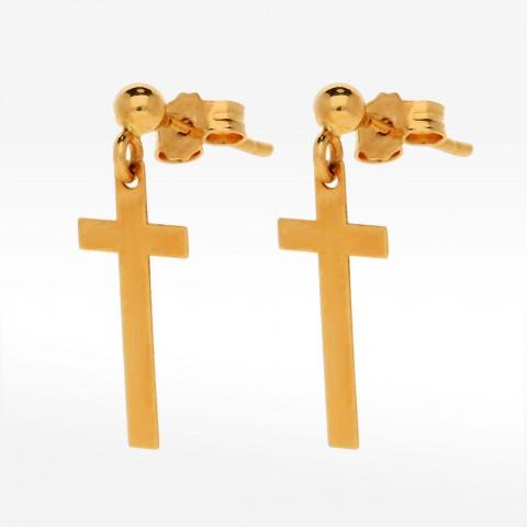 Kolczyki ze złota krzyż