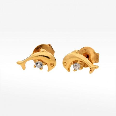 Kolczyki ze złota delfin