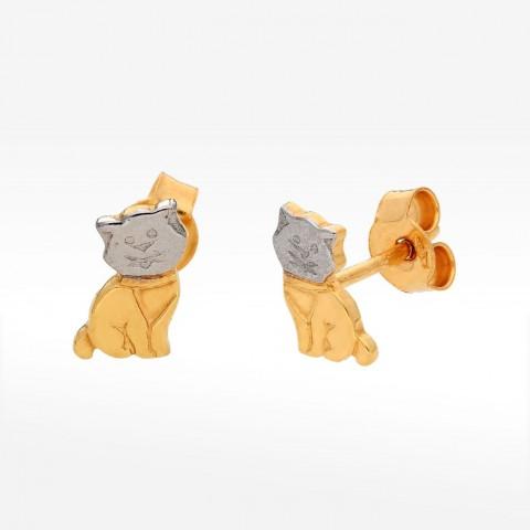 Kolczyki ze złota kotek