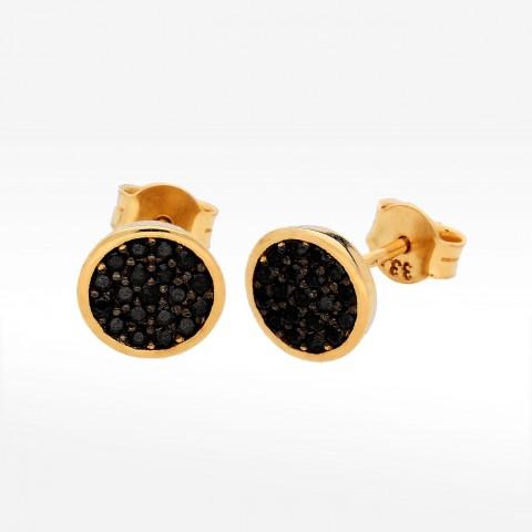 Kolczyki ze złota z czarnymi cyrkoniami