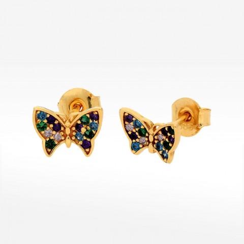 Kolczyki ze złota motyl z wielobarwnymi cyrkoniami