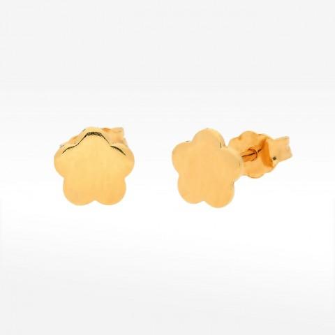 Złote kolczyki na sztyft kwiatki